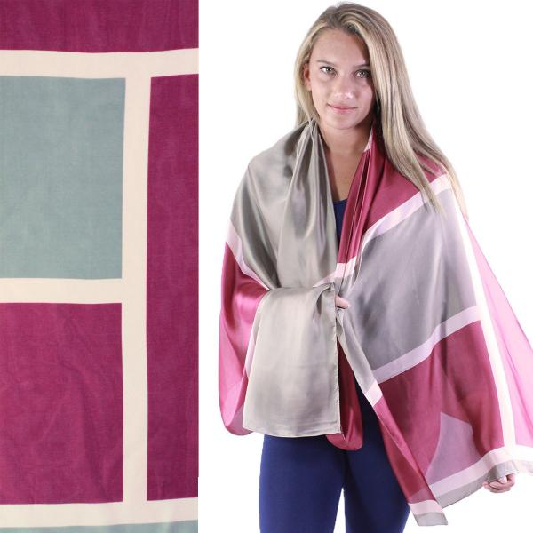 wholesale Shawls - Boutique Charmeuse #43 Block Print Grey-Wine -