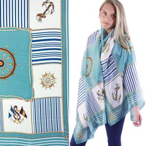 Shawls - Boutique Charmeuse #44 Anchors and Ship Wheels - Teal -