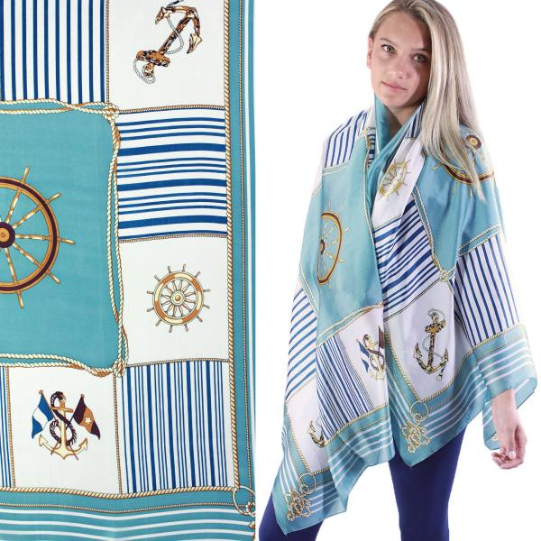 wholesale Shawls - Boutique Charmeuse #44 Anchors and Ship Wheels - Teal -
