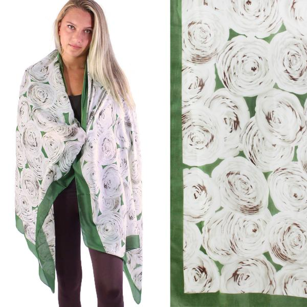 wholesale Shawls - Boutique Charmeuse #45 Roses Green -