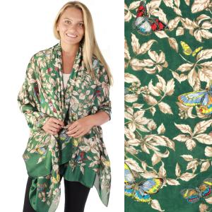 Shawls - Boutique Charmeuse #48 Butterflies Green -
