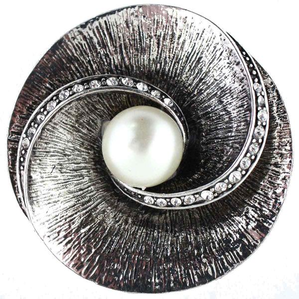 wholesale Magnetic Brooches - Artful Design - Plain Back SP001 Silver Shell and Pearl -