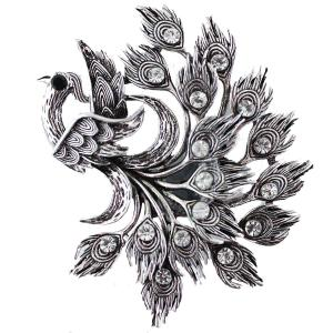 Magnetic Brooches - Artful Design - Plain Back Z0108 Silver Peacock -