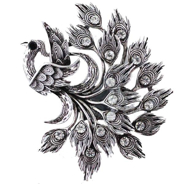 wholesale Magnetic Brooches - Artful Design - Plain Back Z0108 Silver Peacock -