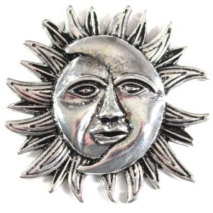 Magnetic Brooches - Artful Design - Plain Back 530 Silver Sun/Moon -