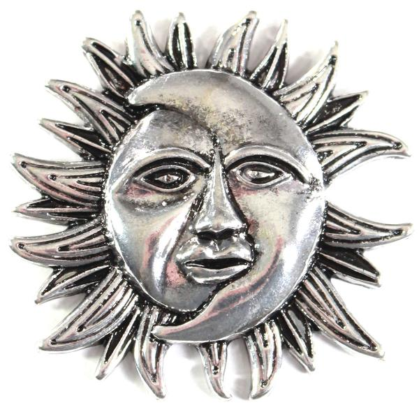 wholesale Magnetic Brooches - Artful Design - Plain Back 530 Silver Sun/Moon -