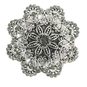 Magnetic Brooches - Artful Design - Plain Back 533 Silver Mandala 8 Sided -