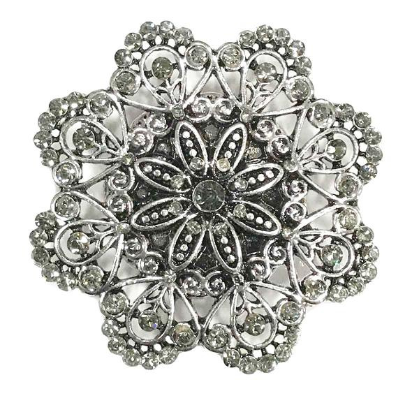 wholesale Magnetic Brooches - Artful Design - Plain Back 533 Silver Mandala 8 Sided -