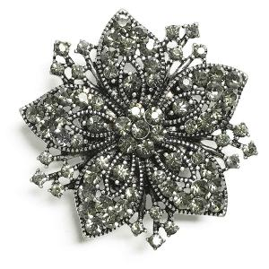 Magnetic Brooches - Artful Design - Plain Back 534 Silver Flower -