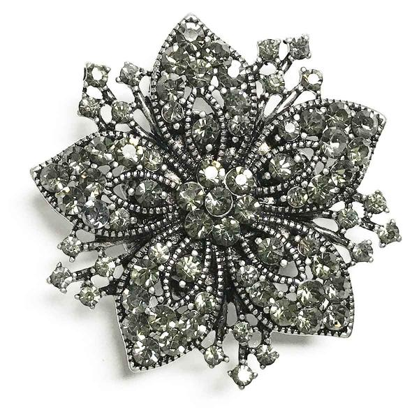 wholesale Magnetic Brooches - Artful Design - Plain Back 534 Silver Flower -