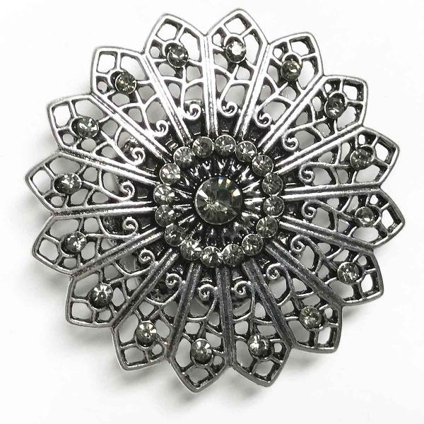 wholesale Magnetic Brooches - Artful Design - Plain Back 535 Silver Mandala 16 Sided -