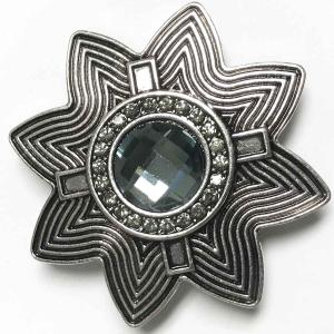Magnetic Brooches - Artful Design - Plain Back 537 Silver Abstract Star w/ Black Stone -