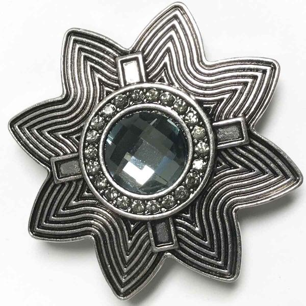 wholesale Magnetic Brooches - Artful Design - Plain Back 537 Silver Abstract Star w/ Black Stone -