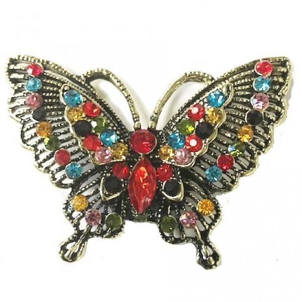 wholesale Magnetic Brooches - Artful Design - Plain Back #010 Multi Butterfly 501 -