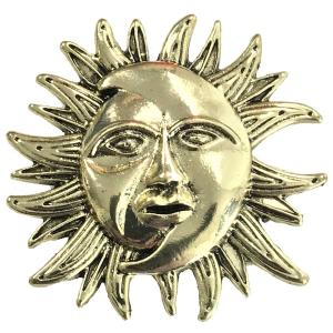 Magnetic Brooches - Artful Design - Plain Back 530 Bronze Sun/Moon -