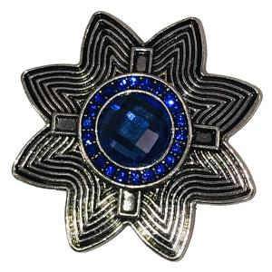 Magnetic Brooches - Artful Design - Plain Back 537 Silver Abstract Star w/ Blue Stone -
