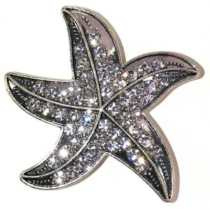 Magnetic Brooches - Artful Design - Plain Back 544 Silver Starfish -