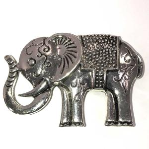 Magnetic Brooches - Artful Design - Plain Back 545 Silver Elephant -