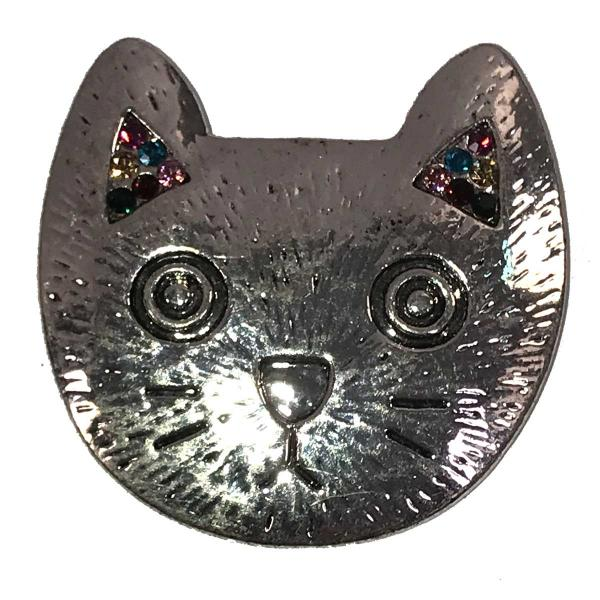 wholesale Magnetic Brooches - Artful Design - Plain Back 546 Silver Cat Design -