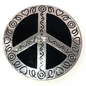 Magnetic Brooches - Artful Design - Plain Back 547 Silver Peace Sign -