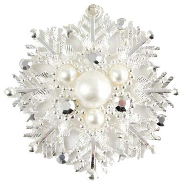 wholesale Magnetic Brooches - Artful Design - Plain Back 548 Platinum Snow Flake -