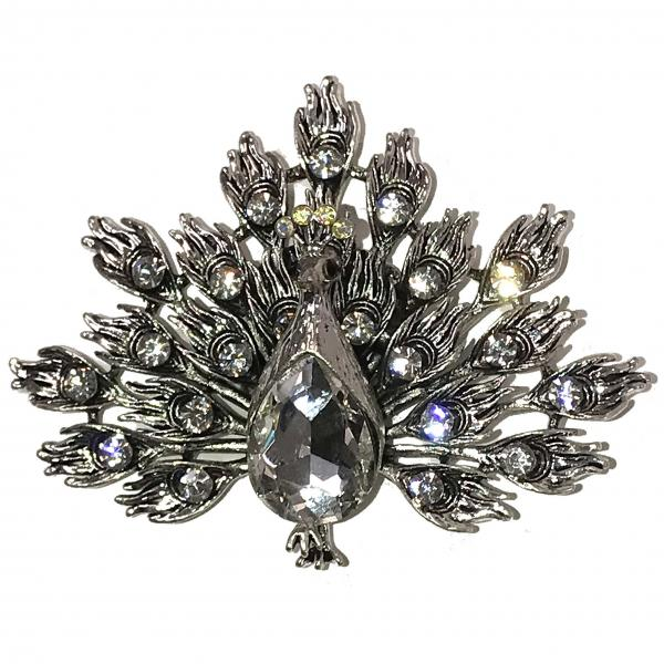 wholesale Magnetic Brooches - Artful Design - Plain Back 549 Silver Peacock -