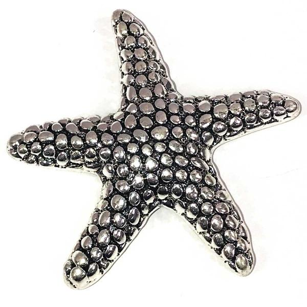 wholesale Magnetic Brooches - Artful Design - Plain Back 550 Silver Starfish -