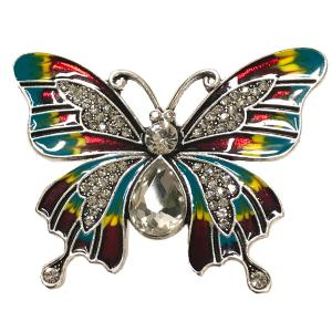 Magnetic Brooches - Artful Design - Plain Back 555 Multi Butterfly -