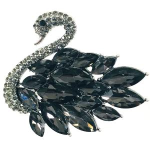 Magnetic Brooches - Artful Design - Plain Back 556 Hematite Swan -