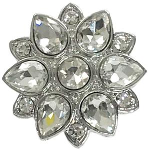 Magnetic Brooches - Artful Design - Plain Back 557 Silver Flower -