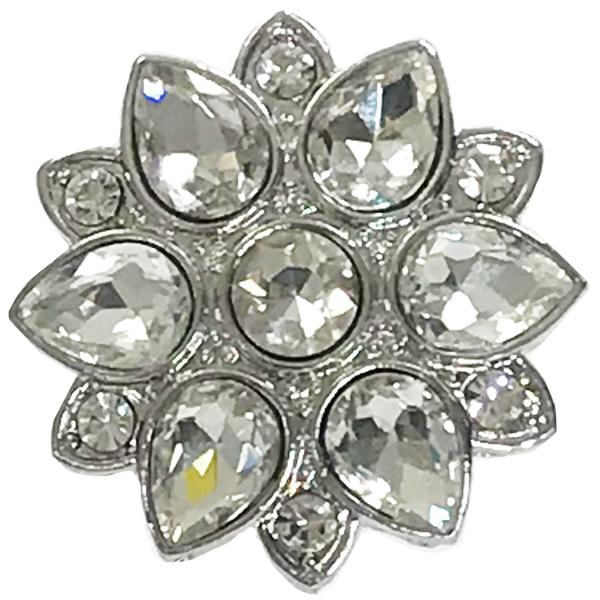 wholesale Magnetic Brooches - Artful Design - Plain Back 557 Silver Flower -