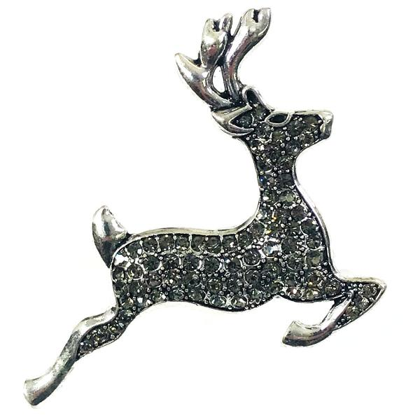 wholesale Magnetic Brooches - Artful Design - Plain Back 558 Silver Reindeer -