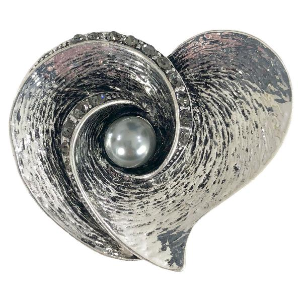 wholesale Magnetic Brooches - Artful Design - Plain Back 559 Silver Heart w/ Hematite Pearl -