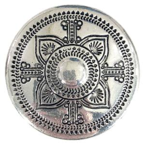 Magnetic Brooches - Artful Design - Plain Back 561 Silver Aztec Flower -