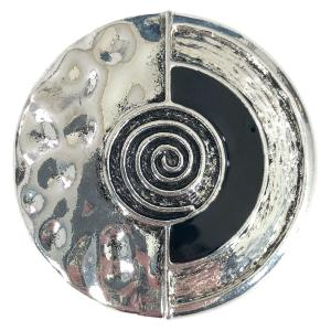 Magnetic Brooches - Artful Design - Plain Back #007 Silver Circle w/ Swirl -