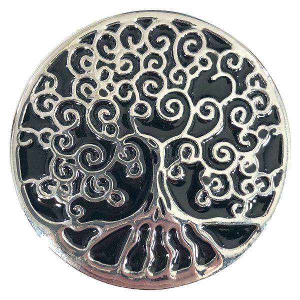 wholesale Magnetic Brooches - Artful Design - Plain Back 564 Silver-Black Tree of Life -