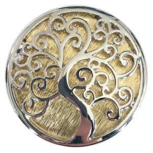 Magnetic Brooches - Artful Design - Plain Back 566 Silver-Gold Tree of Life -