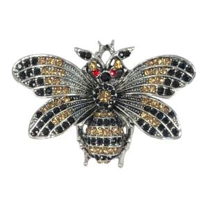 Magnetic Brooches - Artful Design - Plain Back 577 Silver-Gold-Black Bee -