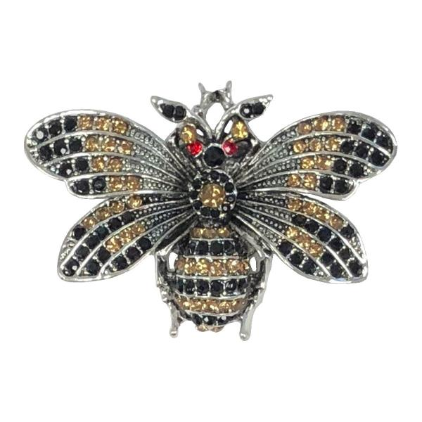 wholesale Magnetic Brooches - Artful Design - Plain Back 577 Silver-Gold-Black Bee -
