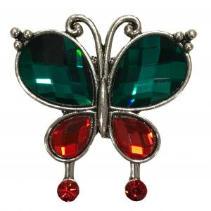 Magnetic Brooches - Artful Design - Plain Back #002 Jeweled Butterfly  -