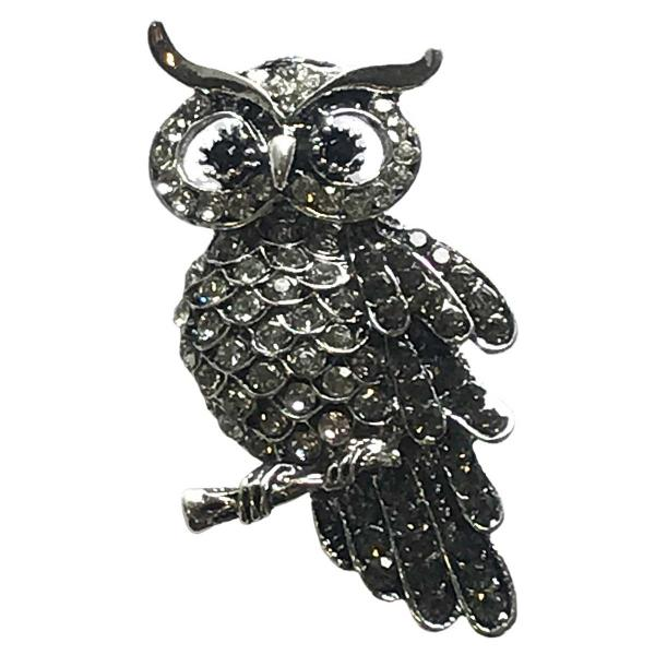 wholesale Magnetic Brooches - Artful Design - Plain Back #008 Owl on a Branch Magnetic Brooch -