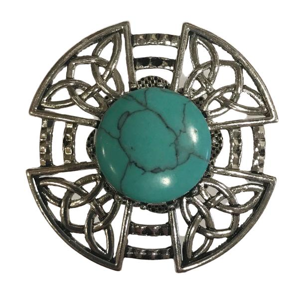 wholesale Magnetic Brooches - Artful Design - Plain Back 601 Turquoise Filagree Magnetic Brooch -