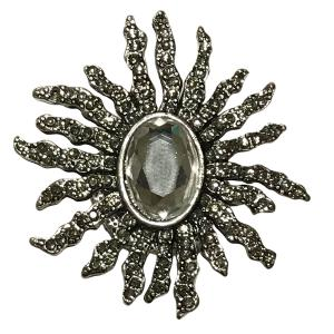 Wholesale  #614 Sunburst with Oval Crystal Magnetic Brooch - 2