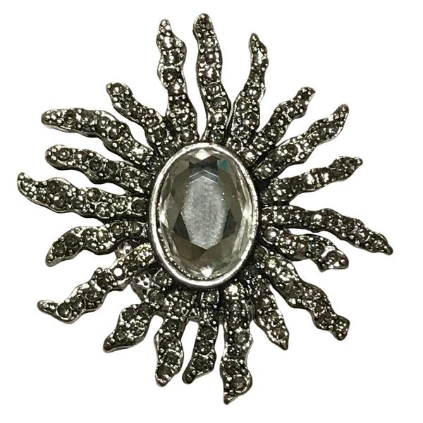 wholesale Magnetic Brooches - Artful Design - Plain Back #614 Sunburst with Oval Crystal Magnetic Brooch - 2