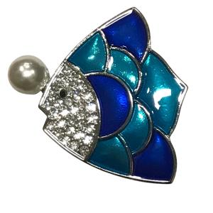Wholesale  #620 Sunfish with Pearl Magnetic Brooch - 2