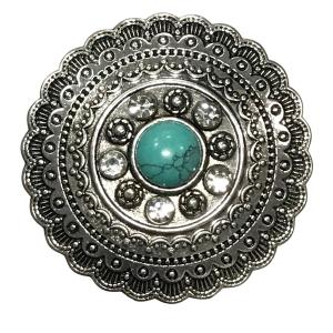Wholesale  #611 Aztec Circle with Turquoise Magnetic Brooch - 2