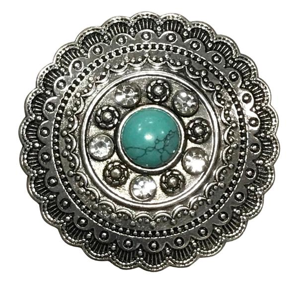 wholesale Magnetic Brooches - Artful Design - Plain Back #611 Aztec Circle with Turquoise Magnetic Brooch - 2