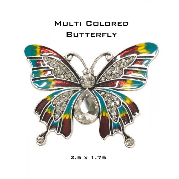 wholesale Magnetic Brooches - Artful Design - Plain Back 555 Multi Butterfly -