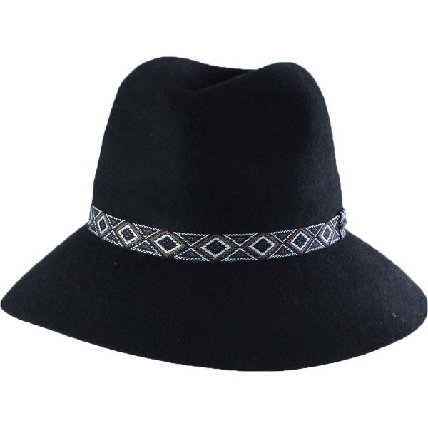 wholesale Hats - 100 Percent Wool w/ Brim FW08 - Black Safari -