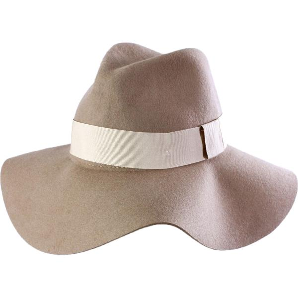 wholesale Hats - 100 Percent Wool w/ Brim A076 - Camel Floppy -